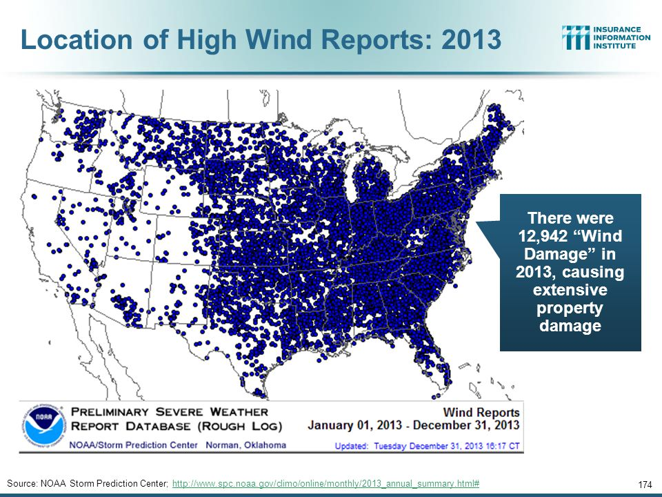 Location of High Wind Reports: 2013