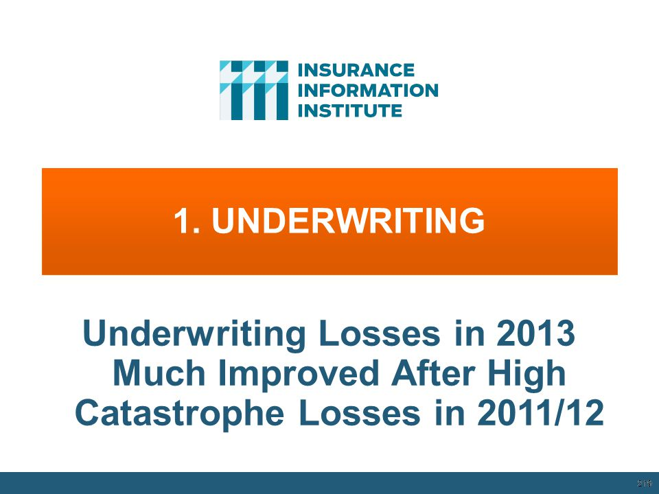 1. UNDERWRITING Underwriting Losses in 2013 Much Improved After High Catastrophe Losses in 2011/12.