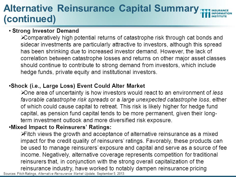 Alternative Reinsurance Capital Summary (continued)