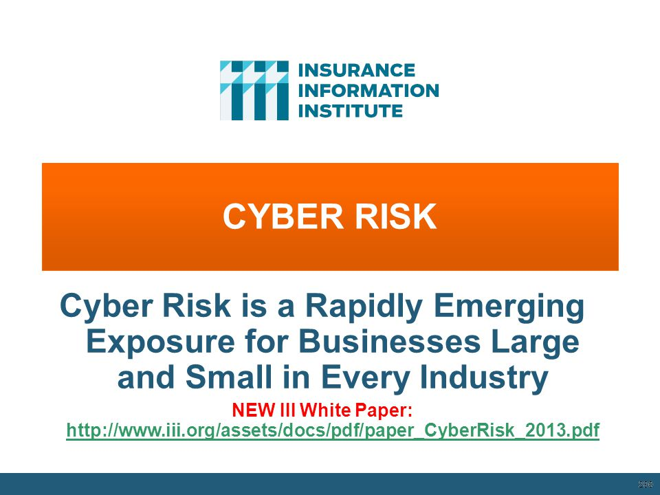 CYBER RISK Cyber Risk is a Rapidly Emerging Exposure for Businesses Large and Small in Every Industry.
