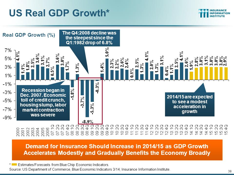 US Real GDP Growth* The Q4:2008 decline was the steepest since the Q1:1982 drop of 6.8% Real GDP Growth (%)