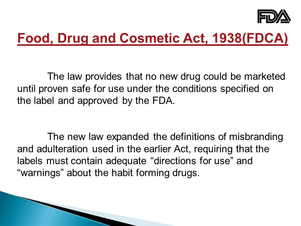 Food, Drug and Cosmetic Act, 1938(FDCA)