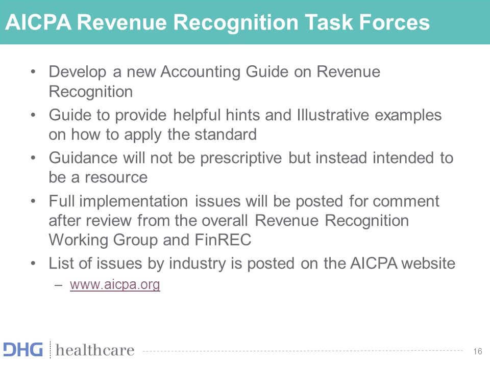 AICPA Revenue Recognition Task Forces