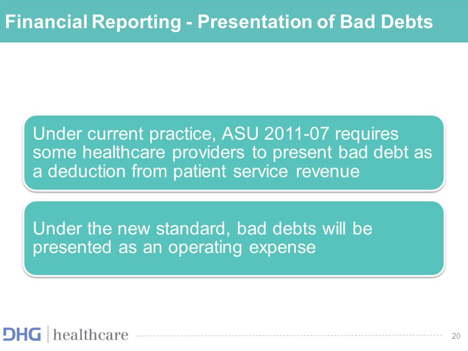 Financial Reporting - Presentation of Bad Debts
