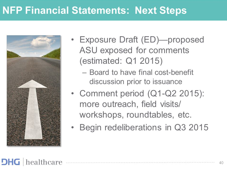 NFP Financial Statements: Next Steps