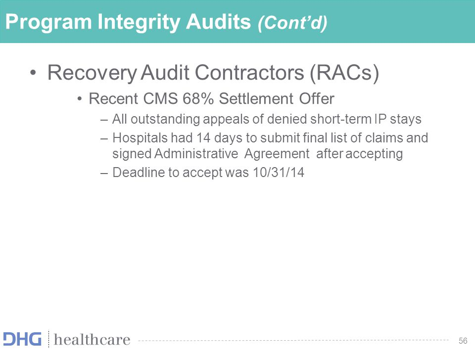 Program Integrity Audits (Cont'd)