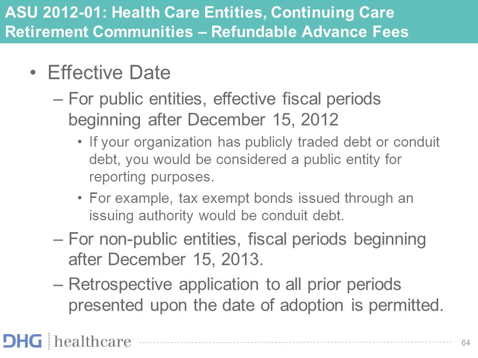 ASU 2012-01: Health Care Entities, Continuing Care Retirement Communities – Refundable Advance Fees