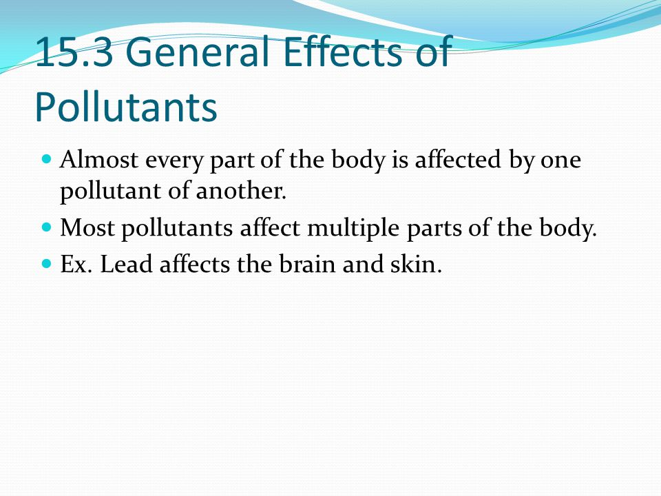 15.3 General Effects of Pollutants