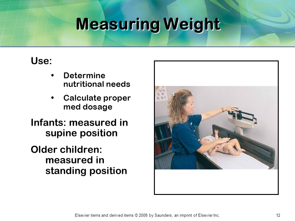 Measuring Weight Use: Infants: measured in supine position