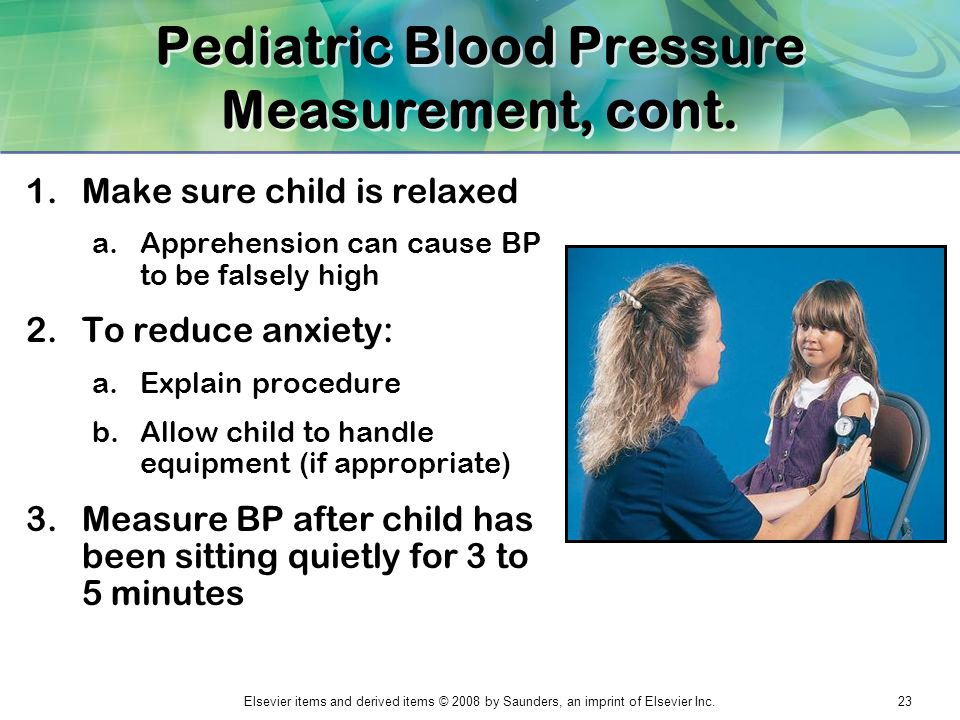 Pediatric Blood Pressure Measurement, cont.