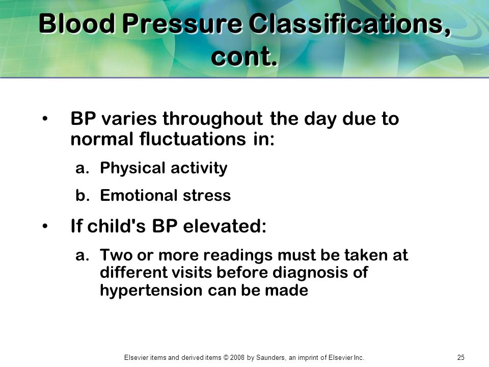 Blood Pressure Classifications, cont.