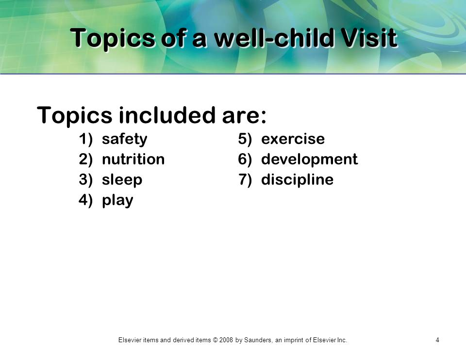 Topics of a well-child Visit