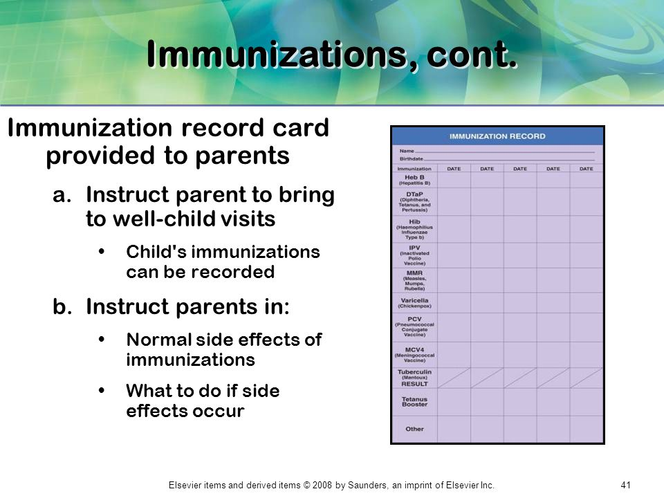 Immunizations, cont. Immunization record card provided to parents