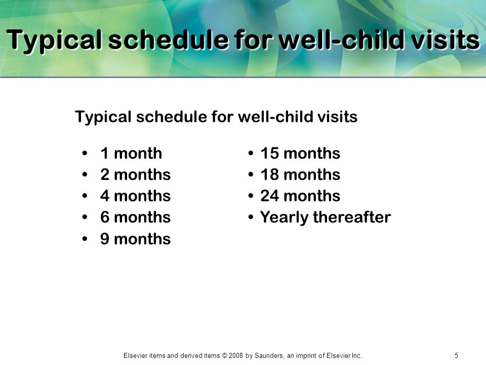 Typical schedule for well-child visits