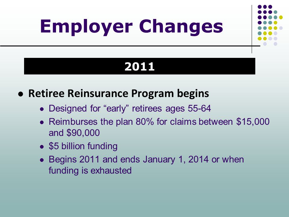 Employer Changes Retiree Reinsurance Program begins 2011