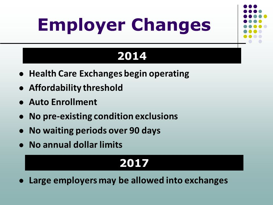 Employer Changes 2014 2017 Health Care Exchanges begin operating