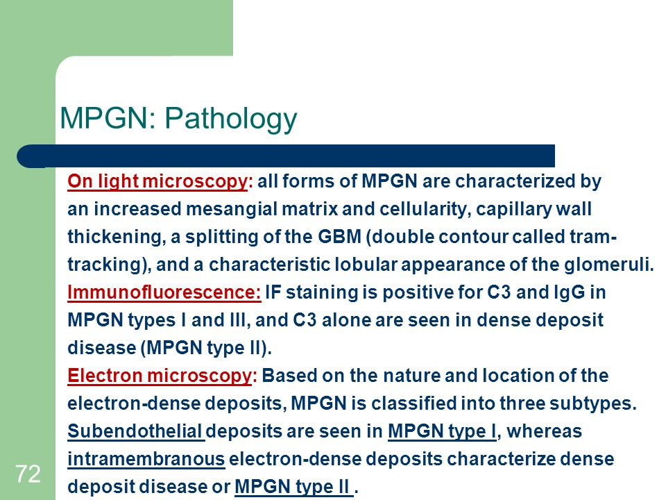 MPGN: Pathology On light microscopy: all forms of MPGN are characterized by. an increased mesangial matrix and cellularity, capillary wall.