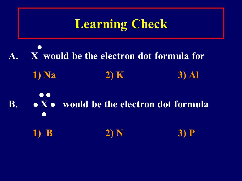 Learning Check A. X would be the electron dot formula for