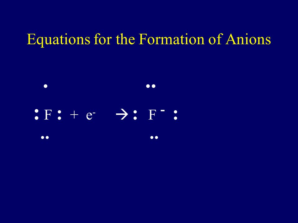 Equations for the Formation of Anions