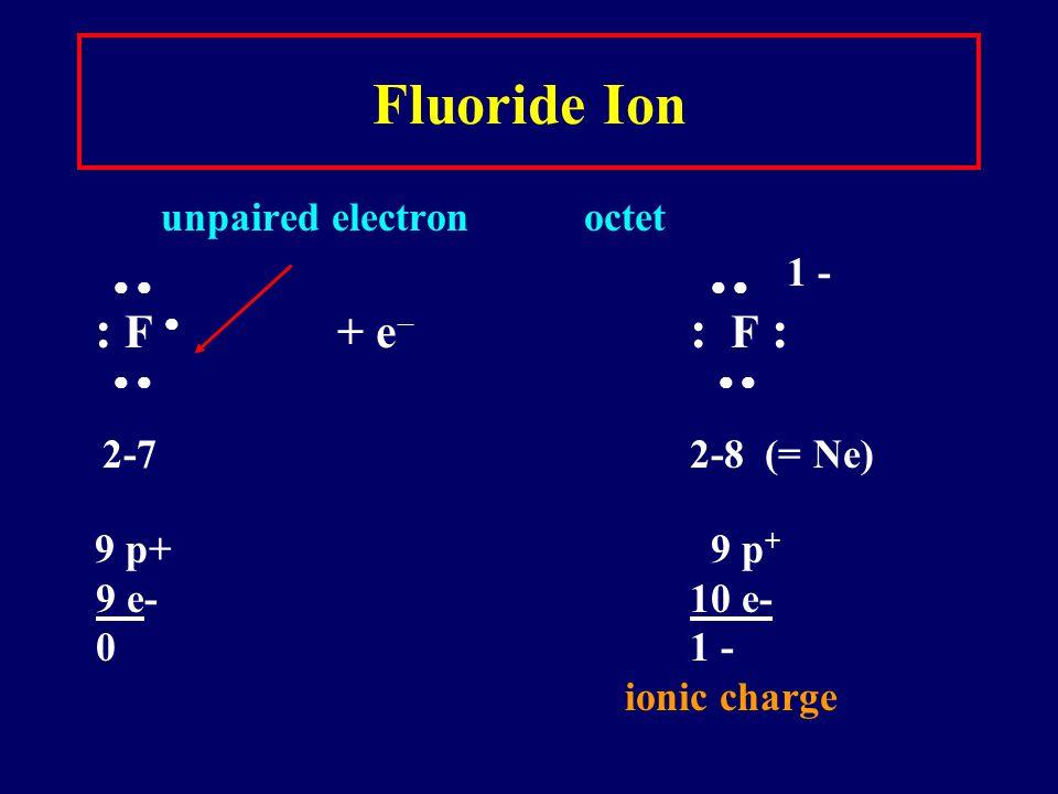 Fluoride Ion     1 - : F  + e : F :     2-7 2-8 (= Ne)