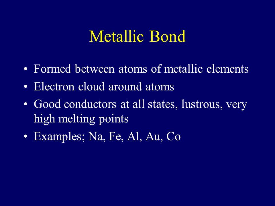 Metallic Bond Formed between atoms of metallic elements