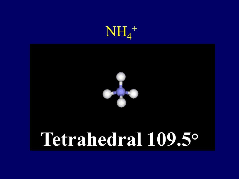 NH4+ Tetrahedral 109.5°