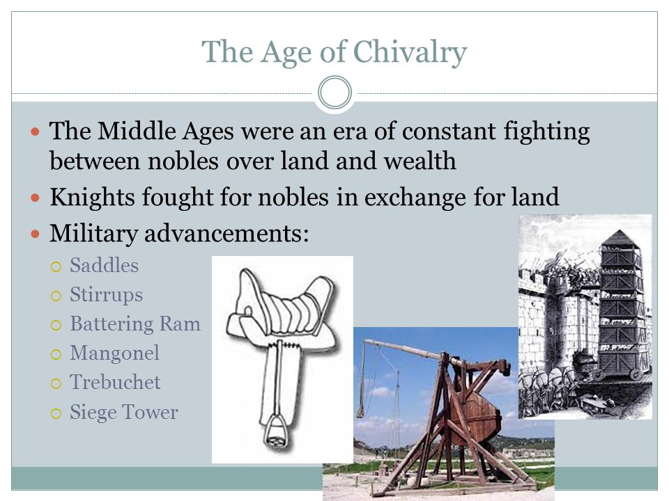 The Age of Chivalry The Middle Ages were an era of constant fighting between nobles over land and wealth.