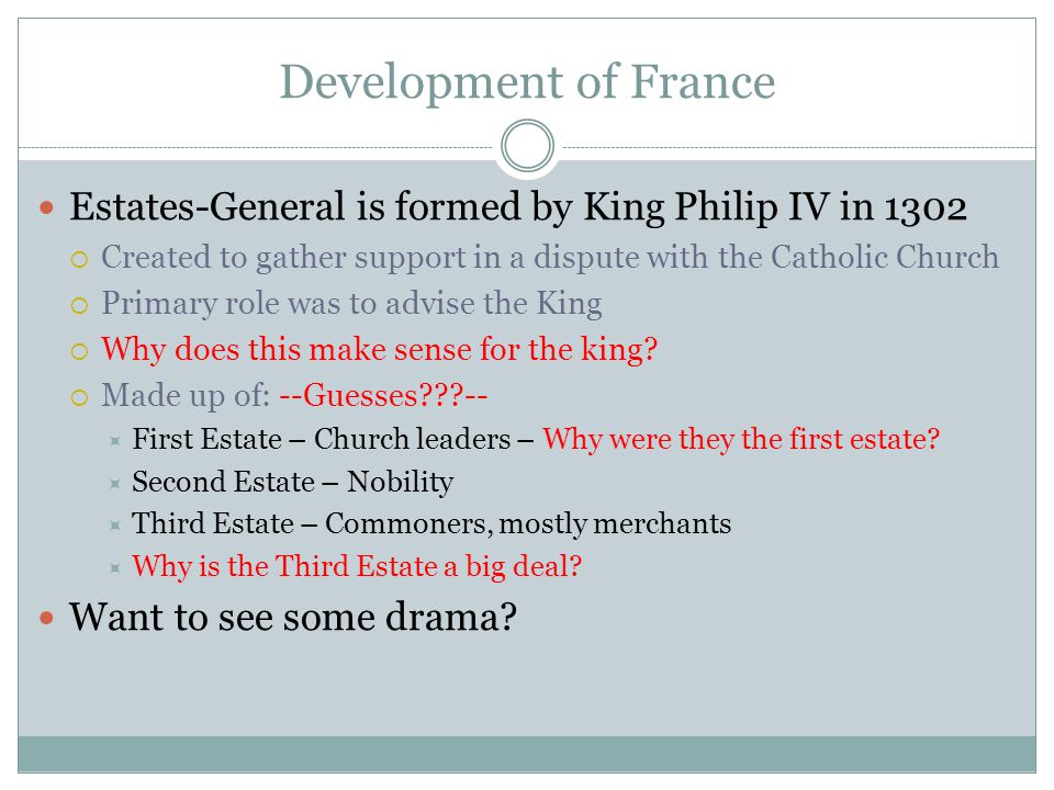 Development of France Estates-General is formed by King Philip IV in 1302. Created to gather support in a dispute with the Catholic Church.