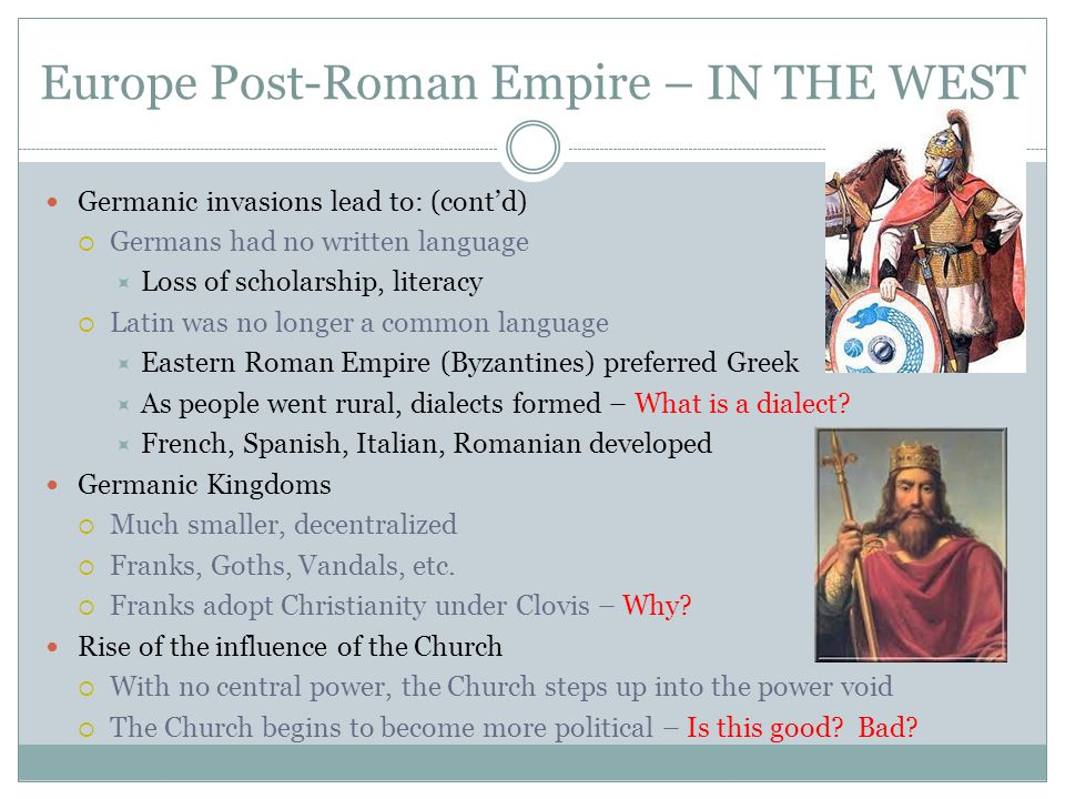 Europe Post-Roman Empire – IN THE WEST