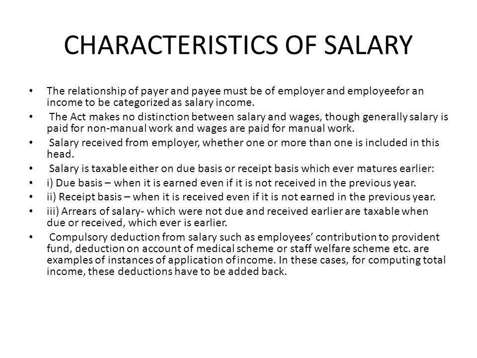 CHARACTERISTICS OF SALARY