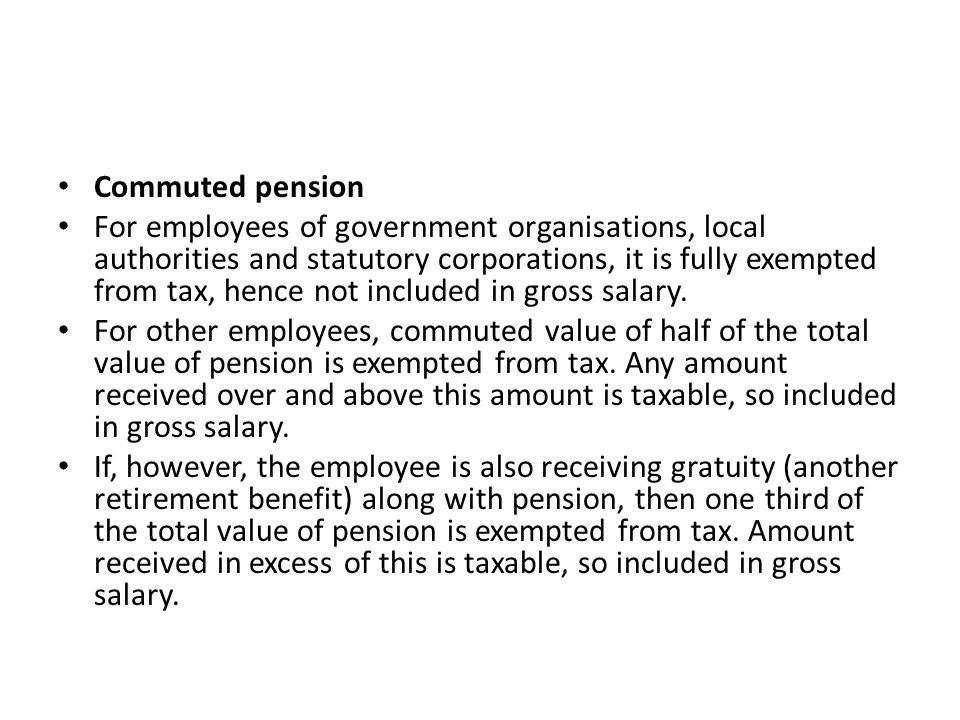Commuted pension