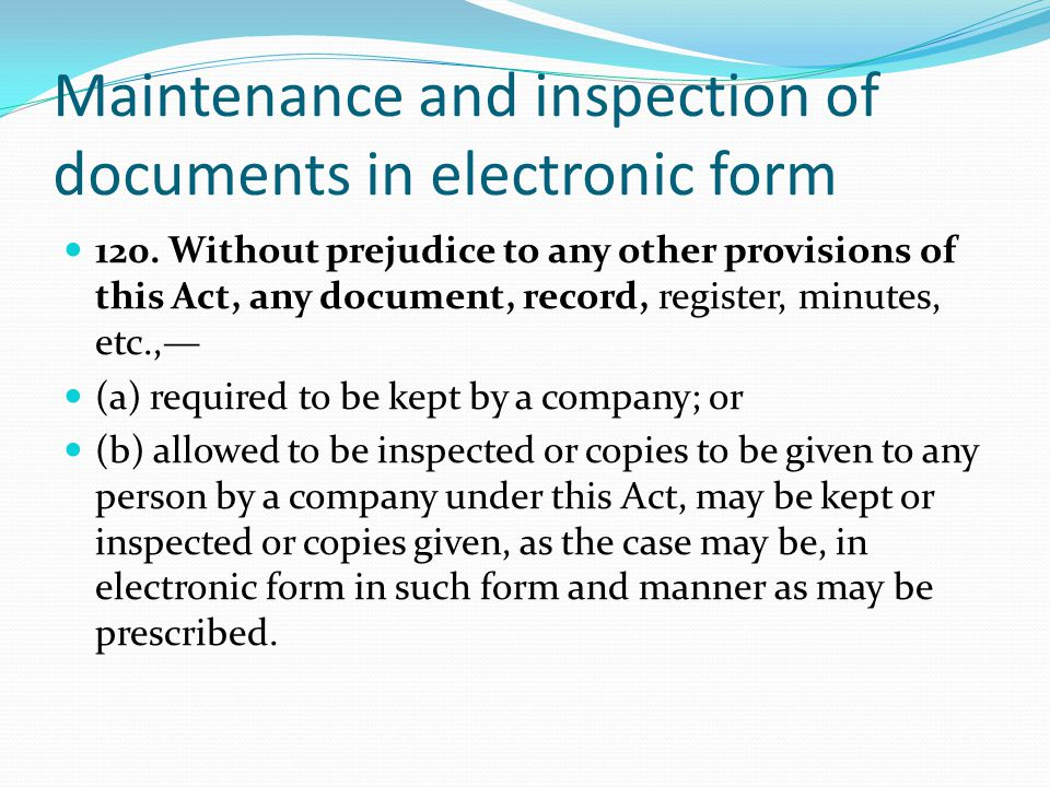 Maintenance and inspection of documents in electronic form