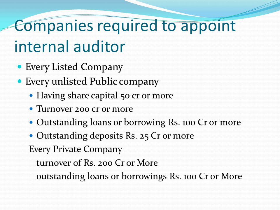 Companies required to appoint internal auditor