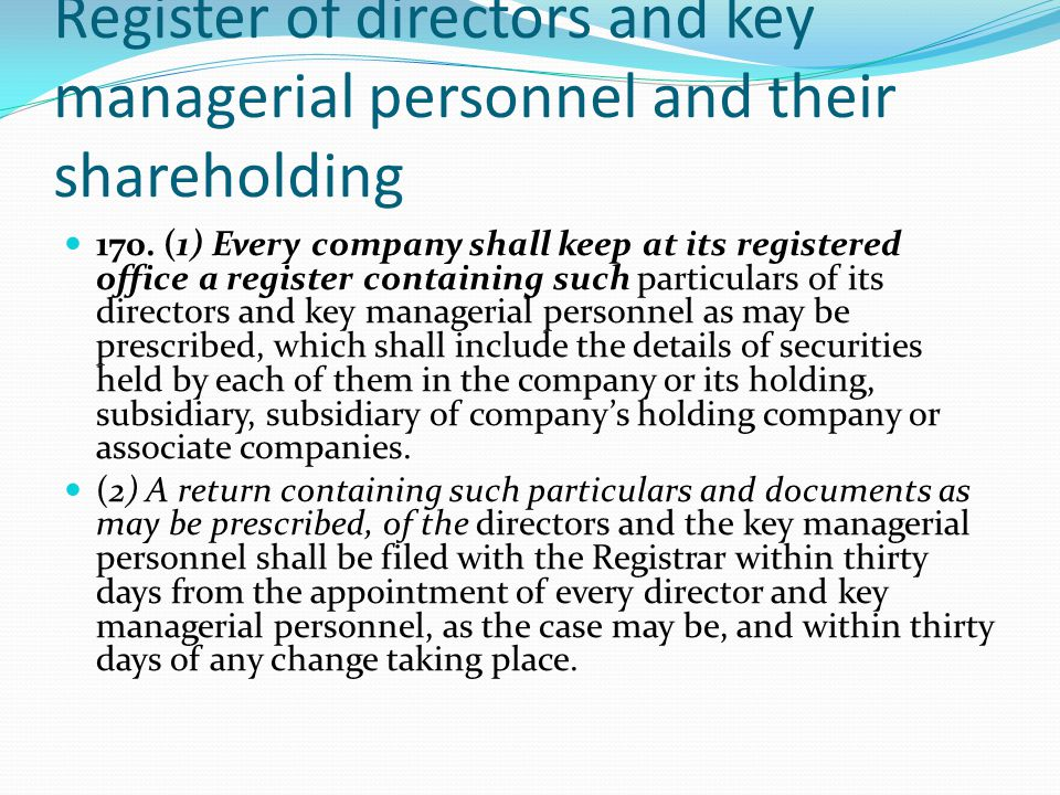 Register of directors and key managerial personnel and their shareholding