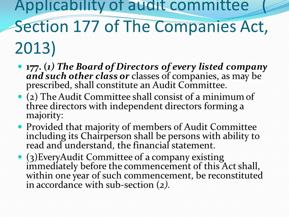 Applicability of audit committee ( Section 177 of The Companies Act, 2013)