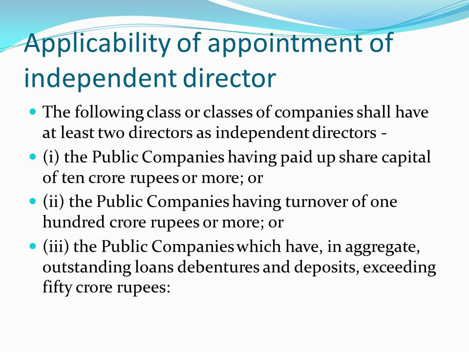 Applicability of appointment of independent director