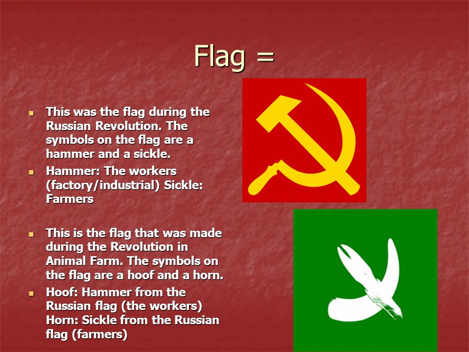 Flag = This was the flag during the Russian Revolution. The symbols on the flag are a hammer and a sickle.