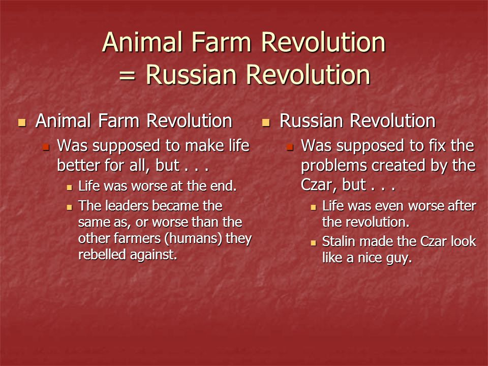 Animal Farm Revolution = Russian Revolution
