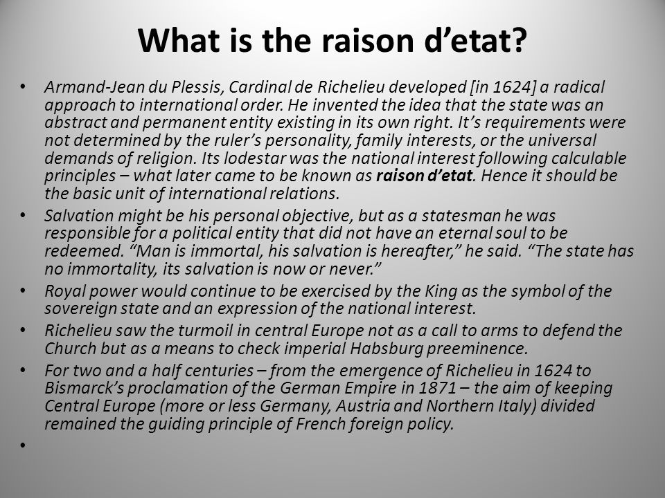 What is the raison d'etat