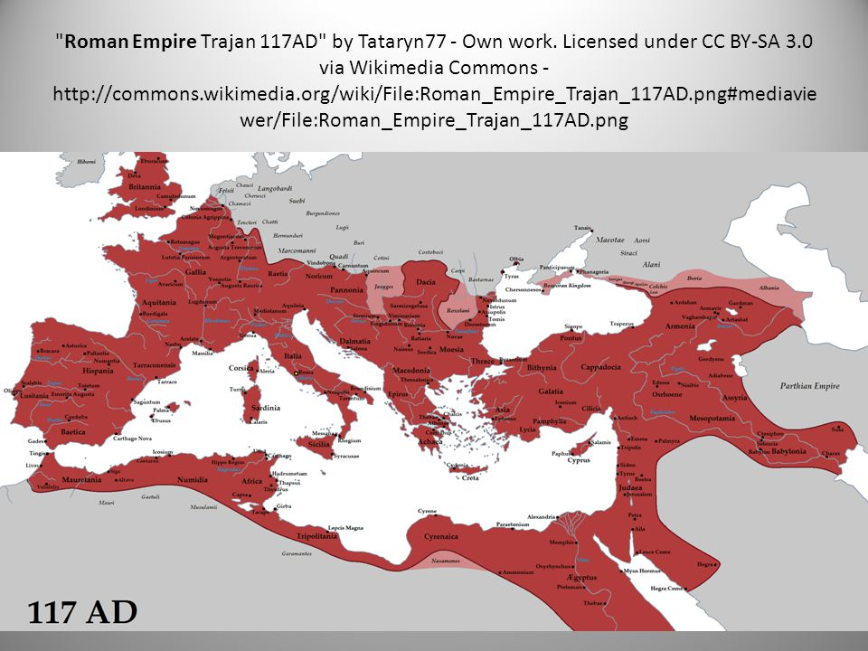 Roman Empire Trajan 117AD by Tataryn77 - Own work