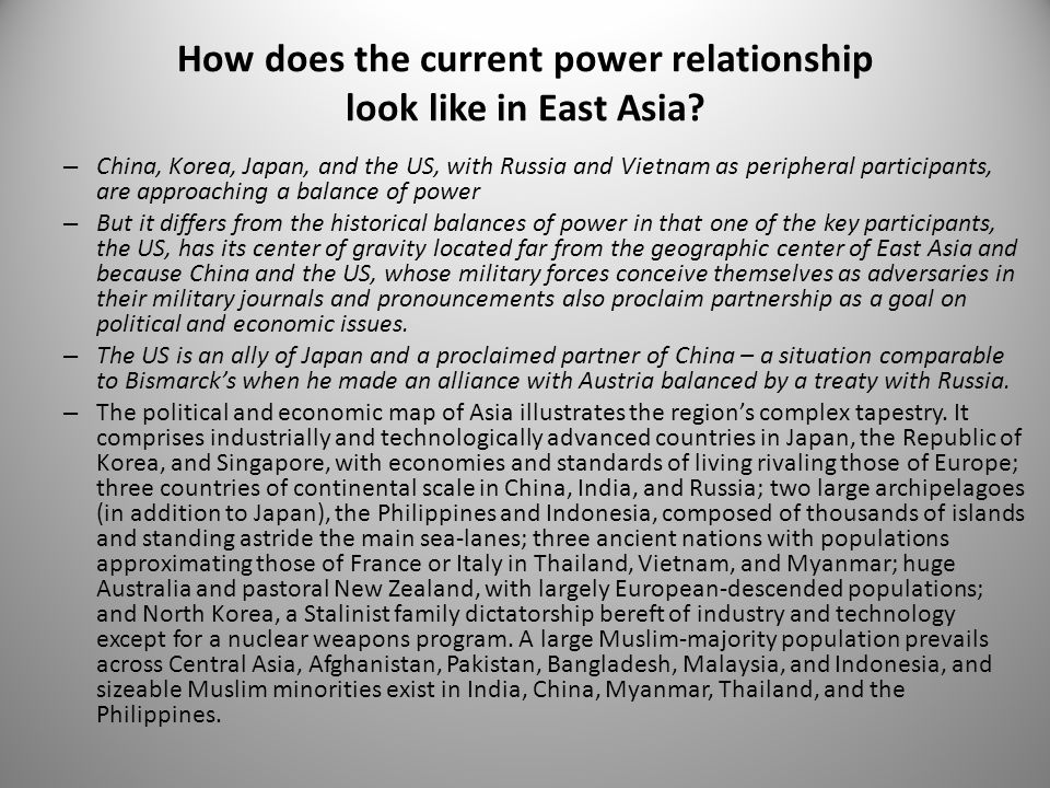 How does the current power relationship look like in East Asia