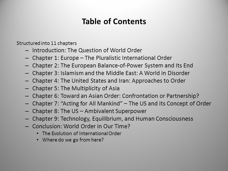 Table of Contents Introduction: The Question of World Order