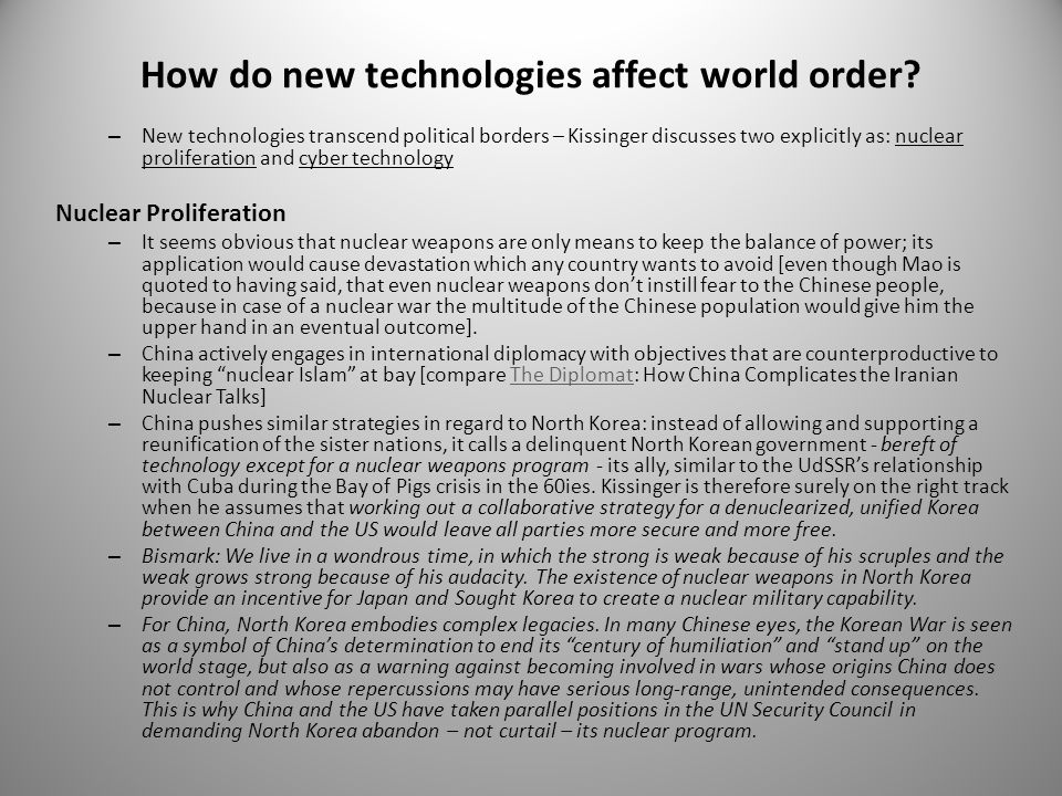 How do new technologies affect world order