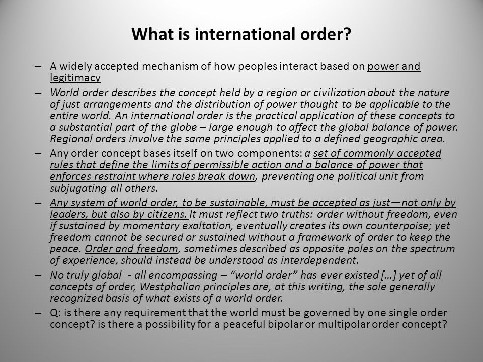 What is international order
