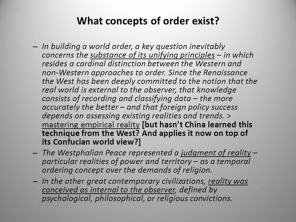 What concepts of order exist