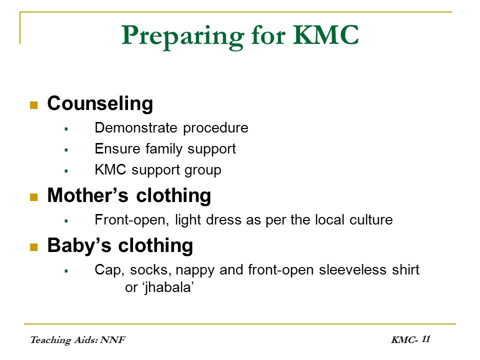 Preparing for KMC Counseling Mother's clothing Baby's clothing