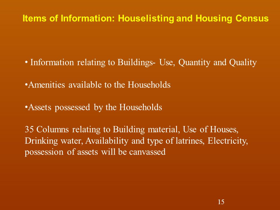 Items of Information: Houselisting and Housing Census