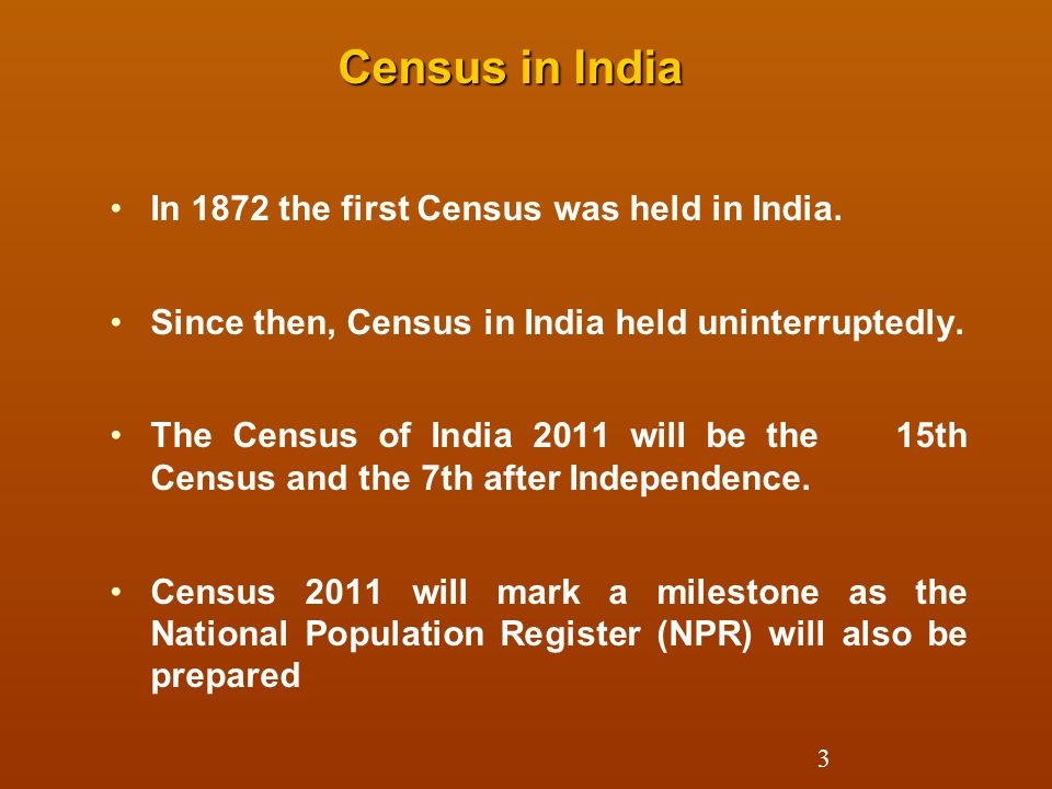 Census in India In 1872 the first Census was held in India.