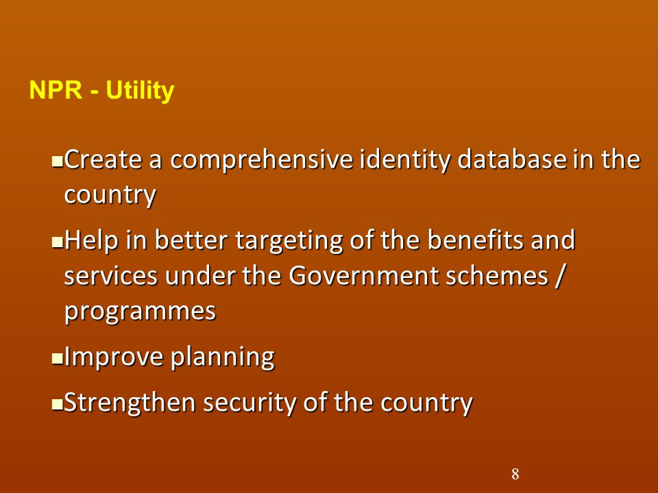 Create a comprehensive identity database in the country