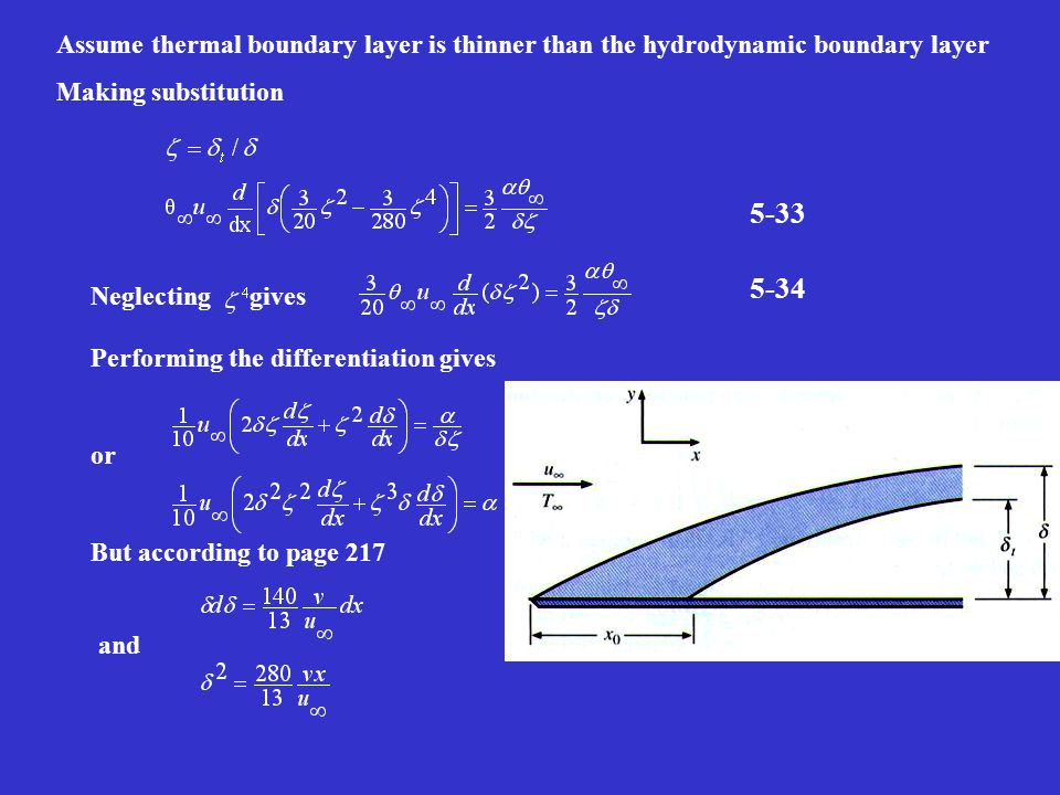 Assume thermal boundary layer is thinner than the hydrodynamic boundary layer